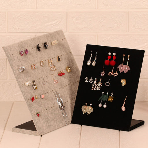 Jewelry Organizer Stand Display Cardboard with Velvet Soft Surface - Caroeas