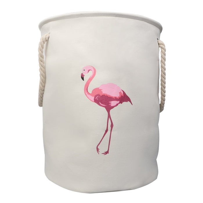 "Extra Large 21.7"" Flamingo Cavans Laundry Basket Double Layer Foldable with Handles - Caroeas"