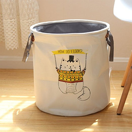 Natural Material Baby Clothes Hamper Collapsible Cloth Hamper Thickened Cotton Fabric ( Yellow Cat )