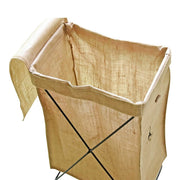 Natural Linen Basket Collapsible Laundry Bag Stand Storage Basket on Metal Wire Stand