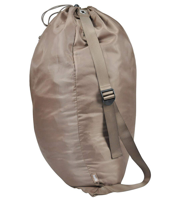 Laundry Bag Foldable Dirty Clothes Bag with Adjustable Shoulder Strap(Brown) - Caroeas