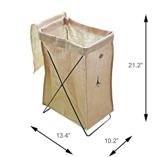 Natural Linen Basket Collapsible Laundry Bag Stand Storage Basket on Metal Wire Stand - Caroeas