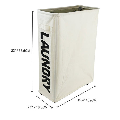 Tall Slim Laundry Hamper Rolling Laundry Sorter Foldable Waterproof Laundry Carts on Wheels ( White ) - Caroeas