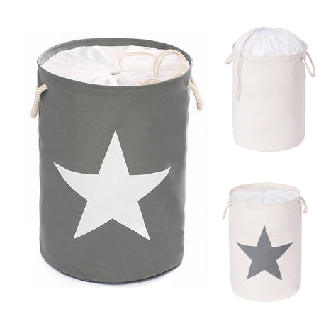 Food-grade Extra Large Laundry Organizer Collapsible Drawstring Cover ( Grey , White star )