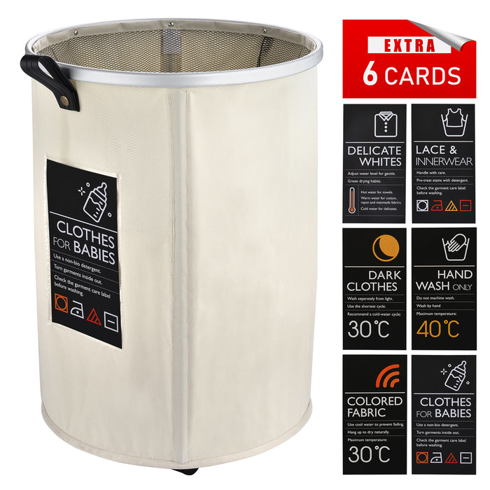 Round Laundry Baskets Foldable with Leather Handle & Card Pocket & Breathable Closure - Caroeas