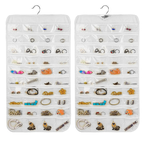 Hanging Jewelry Organizer Closet Slim Design with 80 Clear Pockets to Keep Items Visible