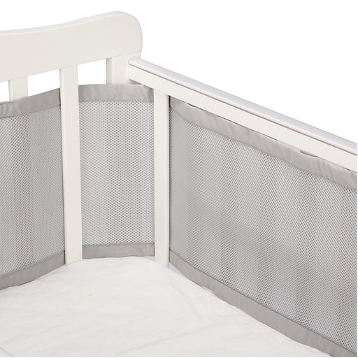 Grey Crib Bumper with Padded Mesh Full Protection for Baby in All Cribs - Caroeas