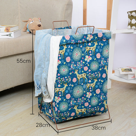 Cute Patterns Metal Frame Storage Cart Practical Heavy Duty Laundry Bag Multiple Usage