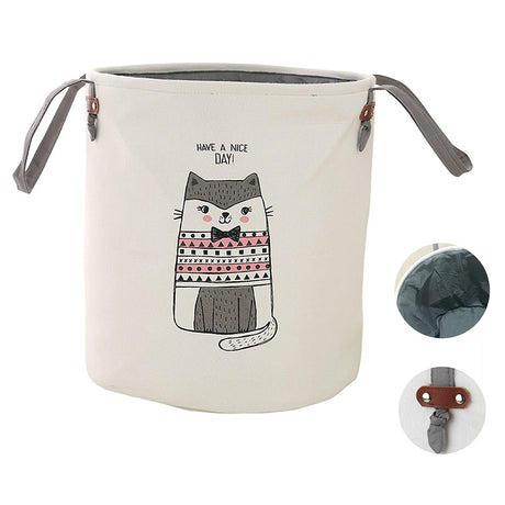 Cute Baby Laundry Hamper Baby Storage Basket Thick Canvas (Grey Cat) - Caroeas