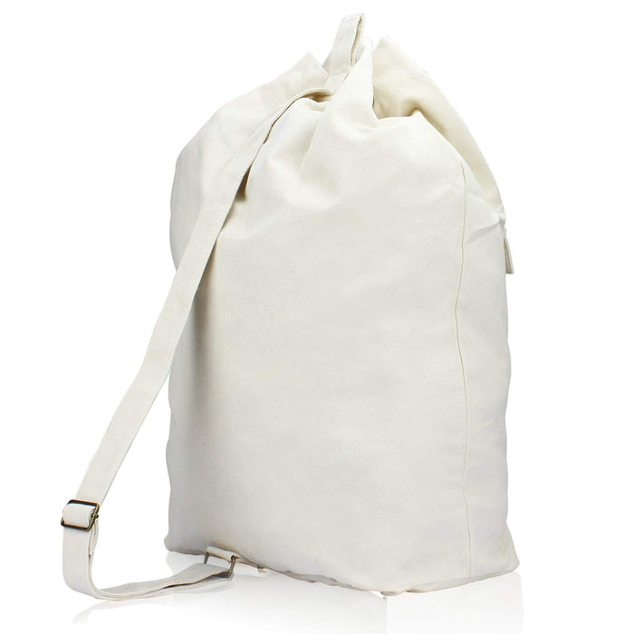 Laundry Bag Spacious Canvas Backpack with Adjustable Straps Travel Bag(White) - Caroeas