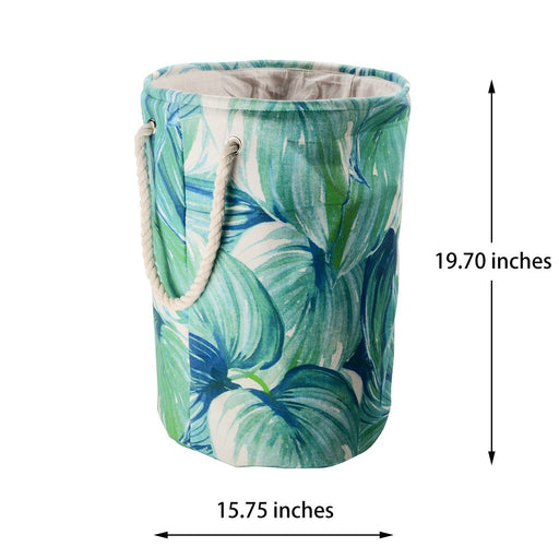 "19.7"" Leaf Tall Laundry Basket Double Layer Canvas Collapsible Hamper Organization - Caroeas"