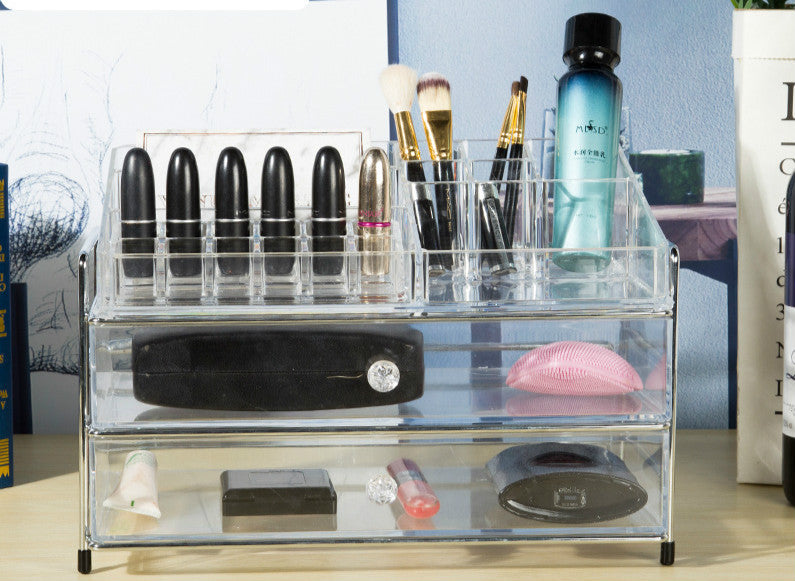 Jewelry Box for Storing Lipstick and Brush With Transparent Drawer - Caroeas