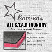 Thick Cotton Linen Large Laundry Hamper ( White , Grey Star ) - Caroeas