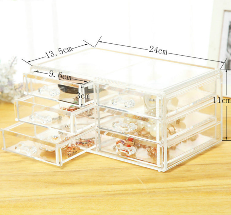Sleek Platte Clear Makeup Organizer with Drawer for Jewelry Cosmetics and Crafts - Caroeas