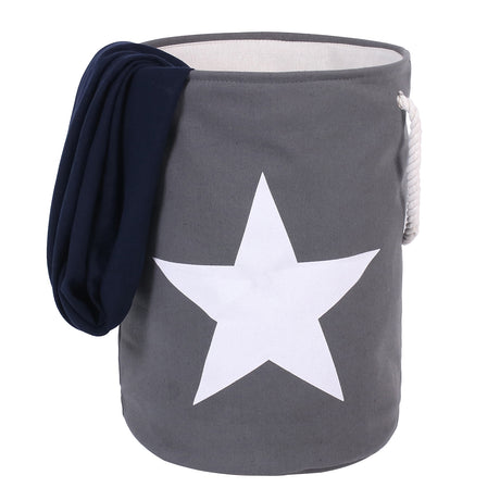 Thickened 21.7 inch Canvas Laundry Basket 3 Layers ( Grey , White Star ) - Caroeas
