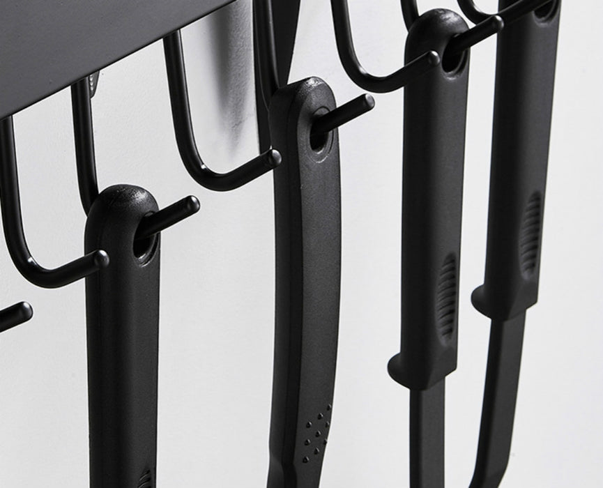 Wall Rack with Hooks with Sturdy Frame and Powerful Adhesion for Pots and Knifes Storage - Caroeas