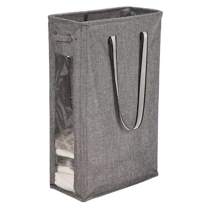 Handy Laundry Hamper with Soft Handles Tall Laundry Basket for Narrow Space (Black) - Caroeas