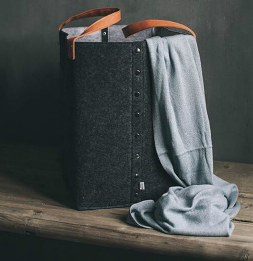 Grey Felt Laundry Hamper with Buttons Square Leather Handle Dirty Clothes Basket - Caroeas