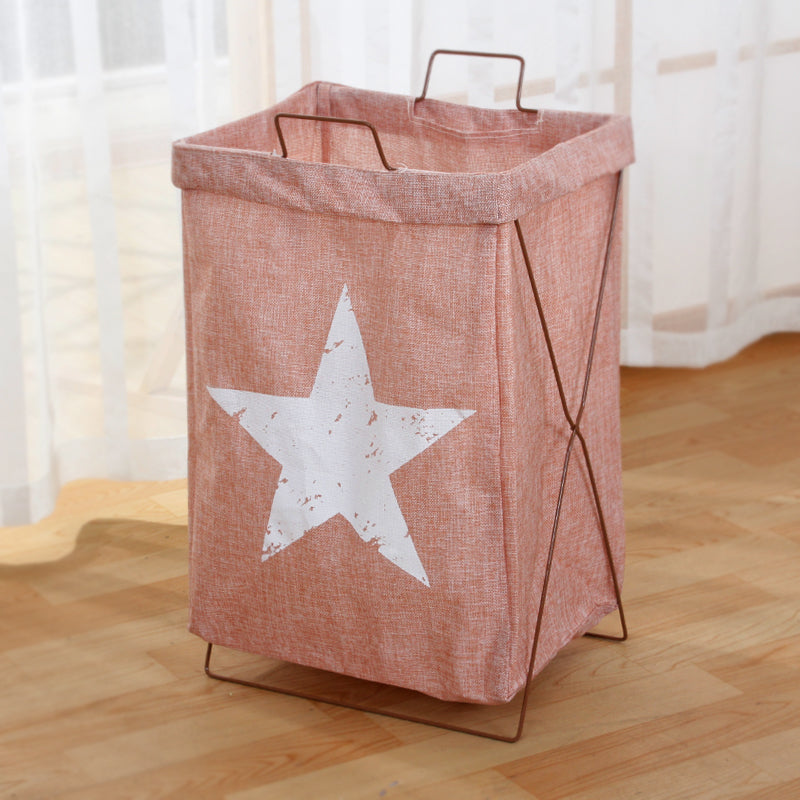 Metal Frame Laundry Storage Basket Multi Functional Tall Hamper Slim Laundry  Cart Star Design