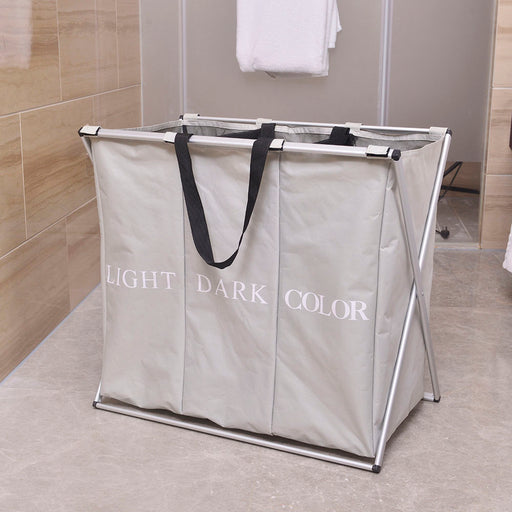 Folding Laundry Hamper 3 Divided Compartments Large Capacity Sturdy Frame