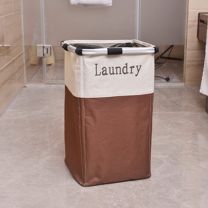 Foldable Laundry Hamper Easy Clean Breathable Material Sturdy Aluminum Frame - Caroeas