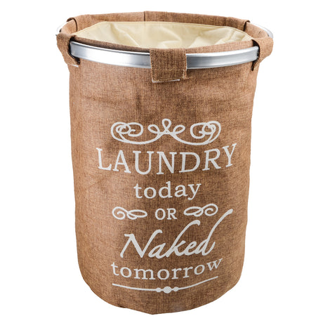 Round Stainless Steel Frame Laundry Hamper Drawstring Closure Storage Barrel Linen