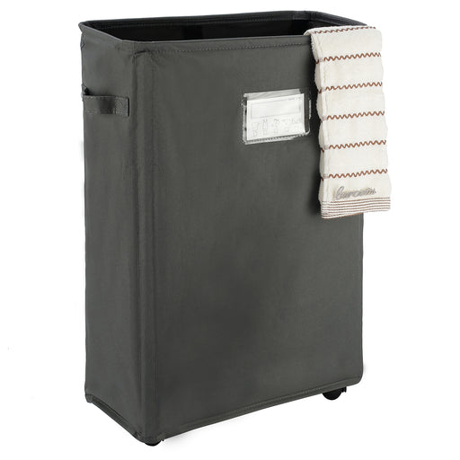 Laundry Basket on Wheels Collapsible Laundry Hamper Waterproof with Card Pocket (Grey) - Caroeas