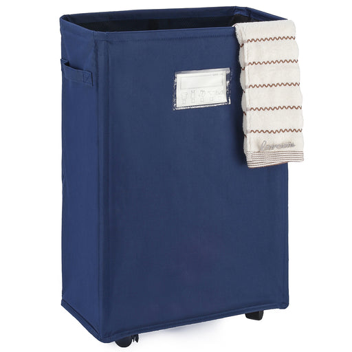 Rolling Laundry Basket Collapsible with Breathable Cover & Card Pocket(Navy Blue) - Caroeas