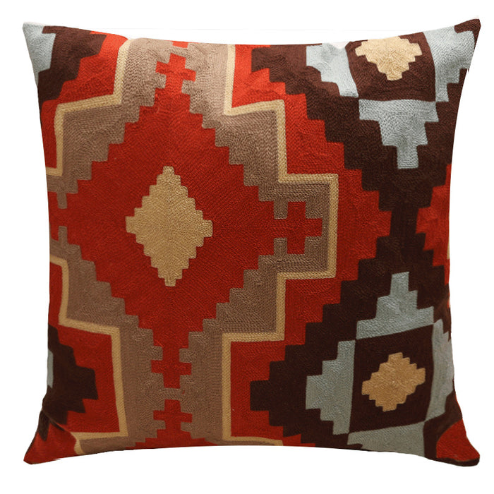 Embroidery Throw Pillow Covers Natural Cotton Soft Touch for Patio and Living Room - Caroeas
