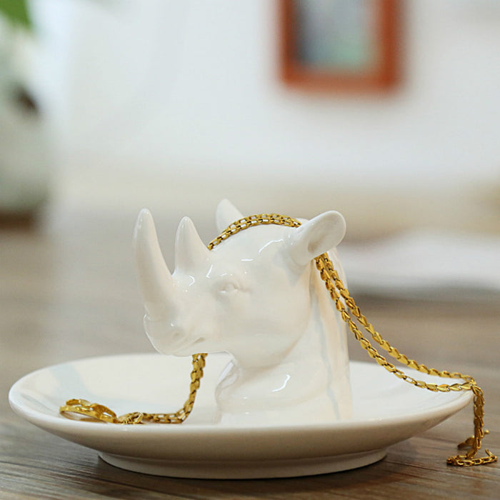 Elegant Handmade Trinket Tray White Jewelry Holder Special Unicorn Design Brings Good Luck - Caroeas