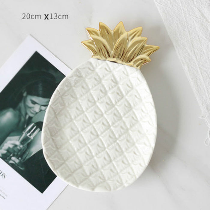 Ceramic Dish Jewelry Tray Organizer with Leaf, Crown and Pineapple Designs Available for Home - Caroeas