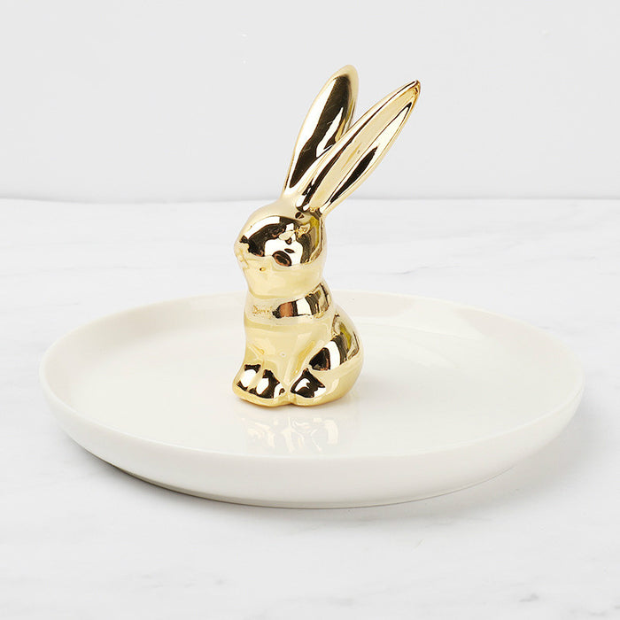 Cute Ceramic Jewelry Tray Handmade High Quality Stand Rings Holder - Caroeas