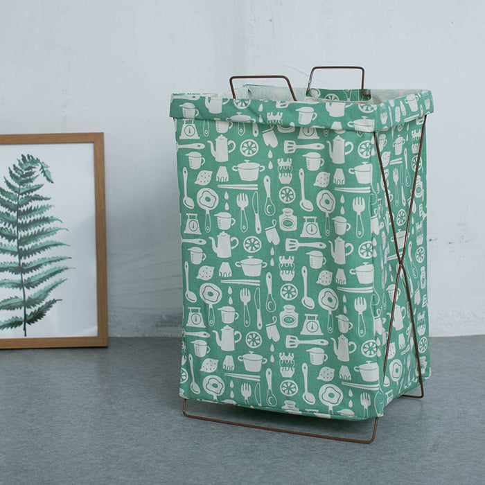 Cute Patterns Metal Frame Storage Cart Practical Heavy Duty Laundry Bag Multiple Usage - Caroeas
