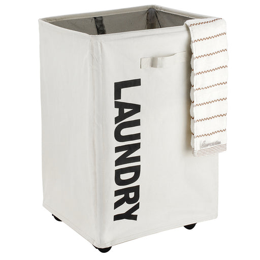 Pro Laundry Cart on Wheels Collapsible Laundry Basket Waterproof with Breathable Mesh Cover  (White) - Caroeas