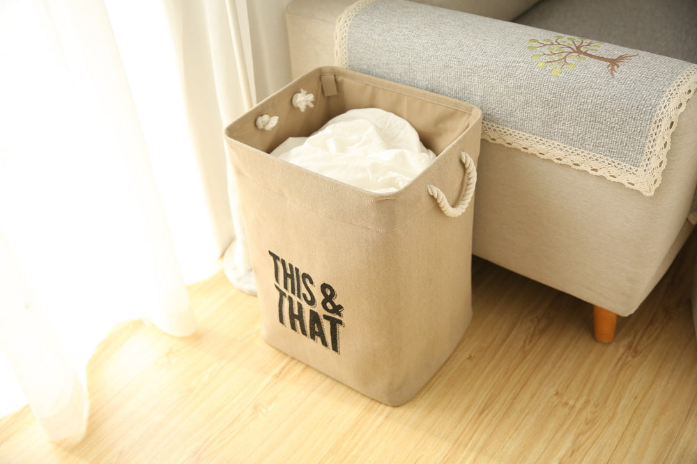 Extra Large Laundry Bag Square Storage Bin Shaped by Firm Metal Stick - Caroeas