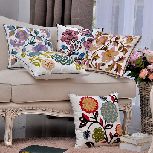 Embroidery Replacement Cushion Covers Flower Patterns Elegant Design 100% Cotton - Caroeas