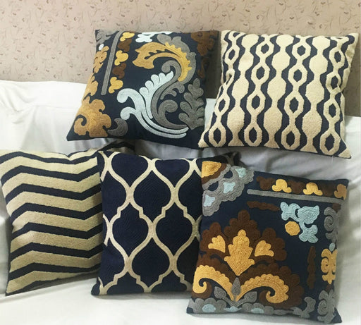Exotic Embroidery Throw Pillow Covers Set of 5 Elegant Designs for Home - Caroeas