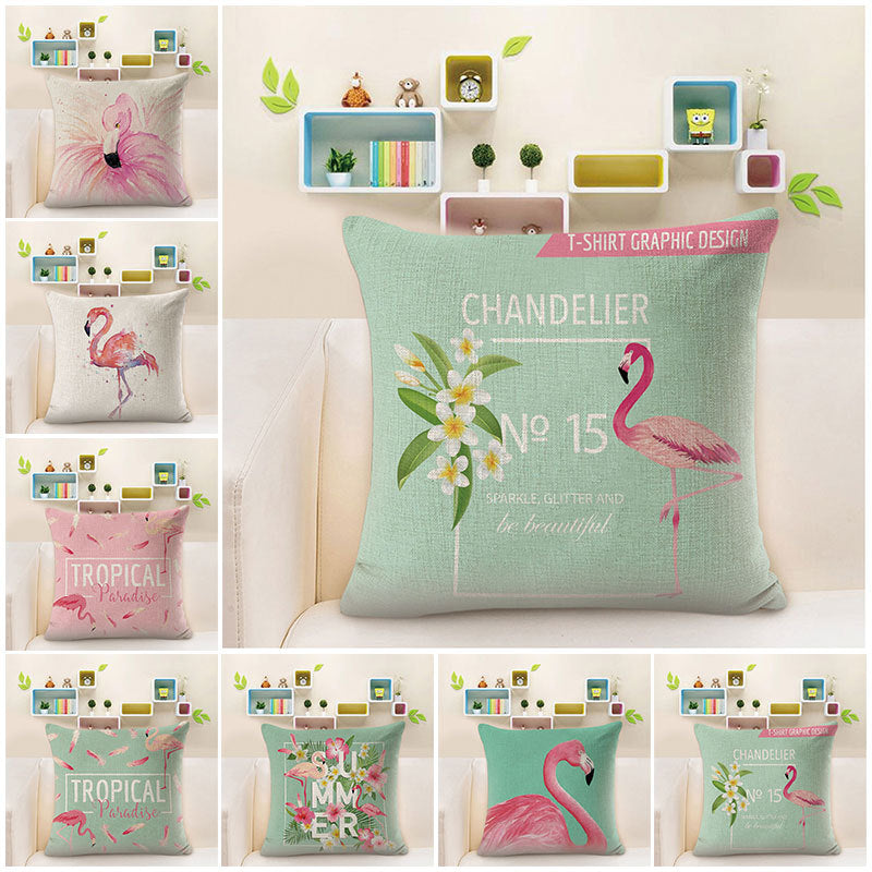 Lovely Cushion Covers with Pink Flamingo and Soft Linen Surface 18 x18 Suitable for Bedroom and Living Room - Caroeas