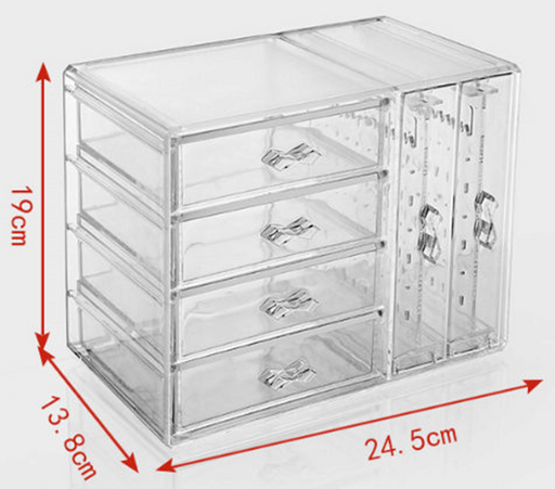 Modern Jewelry Box for Makeup and Accessory Storage with 4 Drawers and 2 Panels