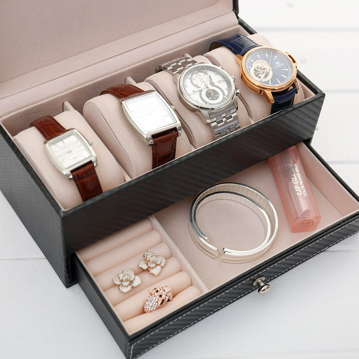 Large Watch Box Double Layers with Suede Lining for Better Protection - Caroeas