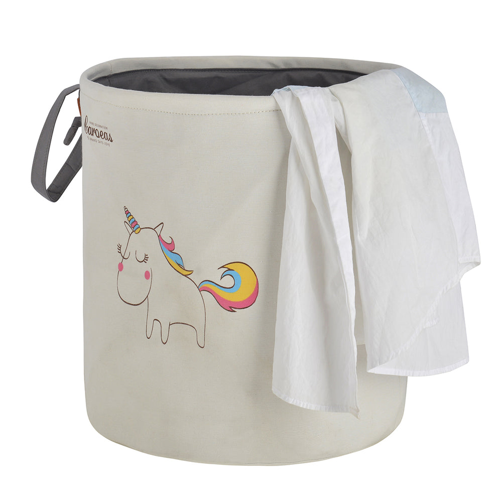 Cute Laundry Hamper Dust-proof Laundry Bags with Handles Unicorn Pattern Natural White - Caroeas
