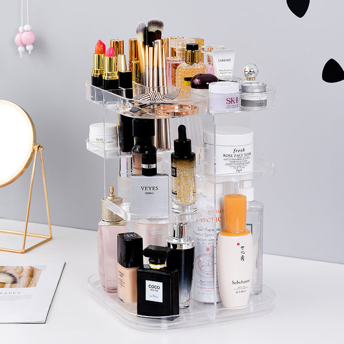 Makeup Vanity Organizer Height Adjustable with Large Capacity for Cosmetics Storage - Caroeas