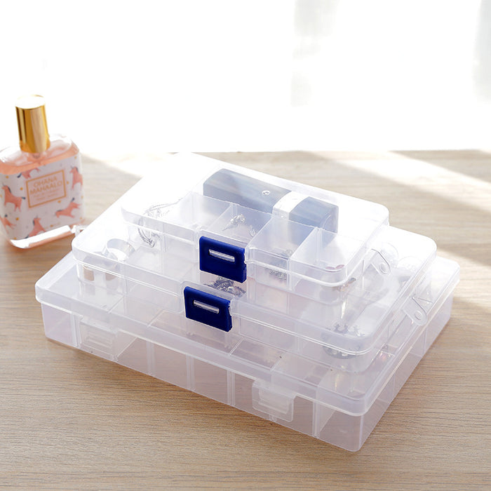 Tool Box Drawer Organizer Rectangle Design with Lid and Clear Appearance Suitable for Office and Jewelry Storage - Caroeas