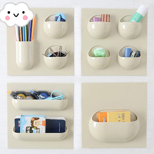 Wall Mounted Makeup Organizer Hole Free Easy Installation 4 Different Designs Multi Functions - Caroeas