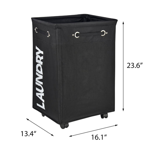 Rolling Laundry Hamper Pro+ Black Hamper Waterproof with Breathable Cover (Black) - Caroeas