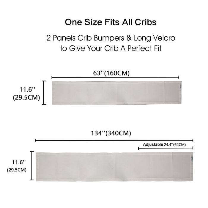 Crib Bumpers | Mesh Crib Bumper | Vertical Crib Bumpers Caroeas Babycare 2 Pack Grey and White - Caroeas