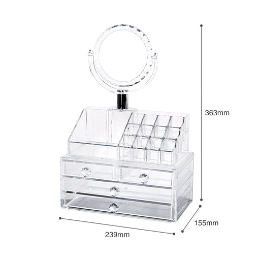 Makeup Vanity Organizer with Mirror to Keep Cosmetics Easy Access - Caroeas