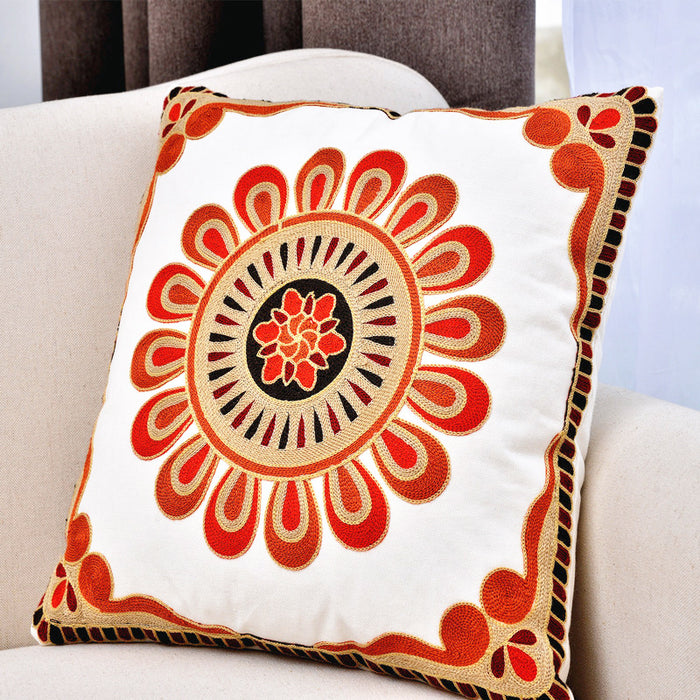 Wool Threads Embroidery Throw Pillow Covers Natural Cotton Soft Surface 18 x 18 - Caroeas