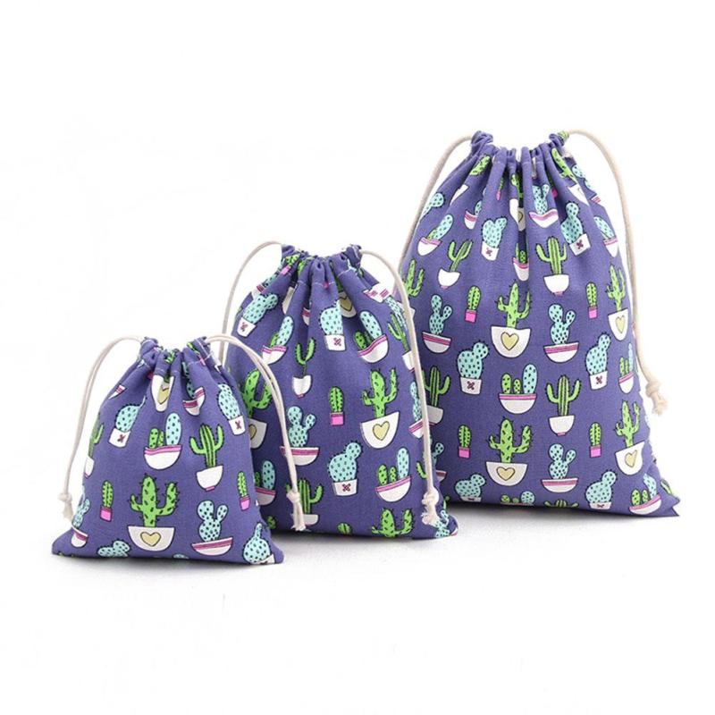 Cute Laundry Bag Colorful Cactus Patterns Eco-Friendly Soft Material 3 Sizes Available - Caroeas