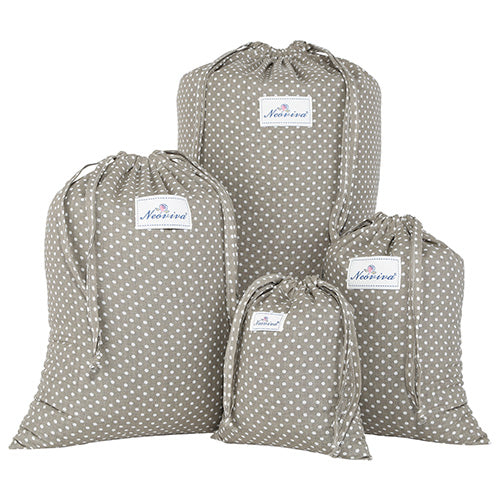 Travel Laundry Bag Pack of 4 Different Sizes Polka Dots Classy Design Thick Cotton - Caroeas